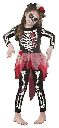 Halloween Day of the Dead Skeleton Costume/Girls Girls Skeleton Costume, Sugar Skull Halloween Costume, Girl Halloween Makeup, Hallowen Costume, Halloween Skeletons, Halloween Costumes For Girls, Halloween Kostüm, Vintage Halloween, Costume Ideas