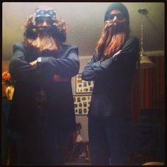 Tadpole & Polly Dress Up As Cast From Duck Dynasty For Halloween Party
