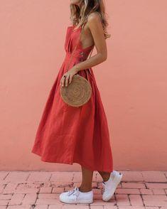 Boho Fashion, Fashion Outfits, Womens Fashion, Fashion Art, Look Boho, Boho Style, Belted Dress, Midi Dress Outfit, Red Midi Dress
