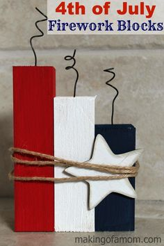 A simple and cute way to decorate your home for the of July. This craft will take 30 minutes of less! of July Firework Blocks A simple and cute way to decorate your home for the of July. This craft will take 30 minutes of less! of July Firework Blocks Fourth Of July Decor, 4th Of July Fireworks, 4th Of July Decorations, 4th Of July Party, July 4th, Diy Summer Decorations, Table Decorations, School Decorations, Spring Crafts