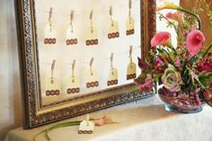 Michaels.com Wedding Department: Escort Card Frame Seat guests with style and ease. Create this unique card holder with a fancy picture frame, crafty clothespins and unique place cards.