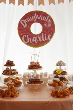 We celebrated Charlie's birthday by inviting everyone over for doughnuts!