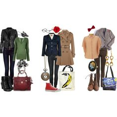 Dr Who inspired outfits! Love everything except maybe the red converse, not crazy about those...