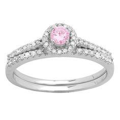 Elora 14k Gold 5/8ct TGW Round Sapphire and White Diamond Accent Bridal Halo Ring Set