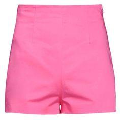 Moschino Shorts (510 PEN) ❤ liked on Polyvore featuring shorts, fuchsia, cotton shorts, zipper shorts and moschino
