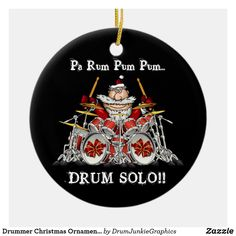This funny drummer Christmas ornament features Santa behind the drum kit, ready to lay down an epic drum solo! What a great gift idea for musicians, music fans and drum enthusiasts! Check out www.drumjunkiegraphics.com for more great drummer merch and musician gifts - all designed by a drummer! #drummerchristmas #musicianchristmas #rockandrollchristmas #drummersanta #drumjunkie