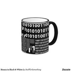 Binary in Black & White Ringer Coffee Mug
