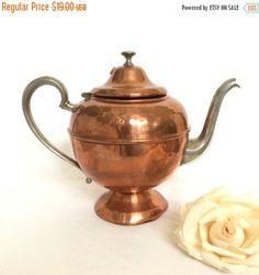Valentine Sale Vintage Copper Teapot with by EllasAtticVintage