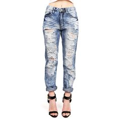 MACHINE Destroyed Girlfriend Jeans ($40) ❤ liked on Polyvore featuring jeans, distressing jeans, cuffed jeans, destruction jeans, destroyed jeans and relaxed fit jeans