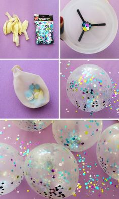 Confetti Balloons Tutorial - 15 Buoyant DIY New Year's Eve Party Ideas | GleamItUp