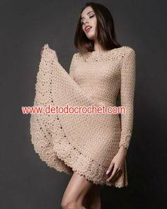 Vestido crochet con falda acampanada Crochet Baby Hats, Diy Crochet, Crochet Top, Crochet Girls Dress Pattern, Crochet Patterns, Crochet Skirts, Crochet Clothes, Crochet For Beginners, Diy Crafts