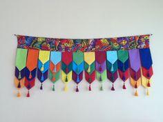Tibetan prayer flag toran layers like petals.maybe for a doorway. Diwali Diy, Diwali Craft, Mobiles, Prayer Flags, Diwali Decorations, Diy Curtains, Textiles, Bunting, Decorative Items