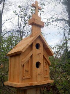 Birdhouse.Church 2 nest bird house, folk art primitives