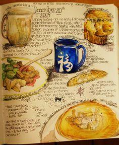 food journal sketchbook by sketchbookbuttons