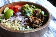 Pork Carnitas with Cilantro-Lime Cauliflower Rice #paleo