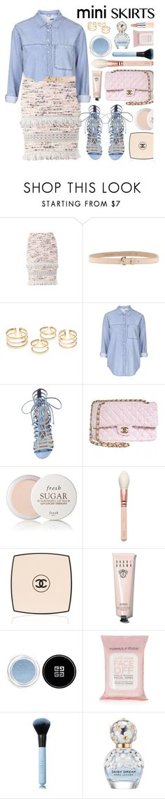 """Mini Skirt"" by monmondefou ❤ liked on Polyvore featuring Dsquared2, Topshop, Steve Madden, Chanel, Fresh, Bobbi Brown Cosmetics, Givenchy, Marc Jacobs, Rimmel and Pink"