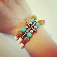 Triple strand cross bracelet by AroundMyWrist on Etsy, 19.50