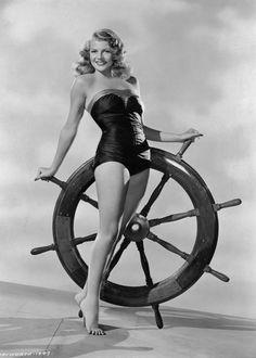 Rita Hayworth. a favored pin up girl during World War II