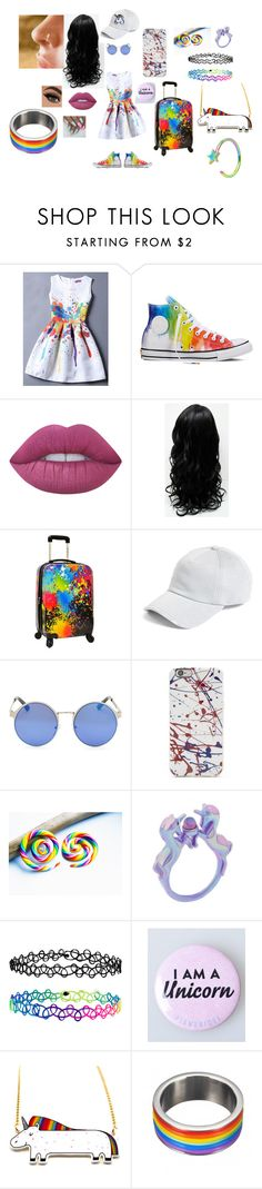 """Splash of Rainbow"" by iceis-schindorff ❤ liked on Polyvore featuring Converse, Lime Crime, Traveler's Choice, rag & bone, Accessorize and Hipstapatch"