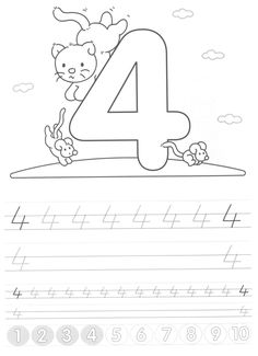 Writing numbers worksheets for preschool and kindergarten – Kids Art & Craf – Calligraphy Kindergarten Writing Activities, Kindergarten Gifts, Pre K Activities, Preschool Lessons, Alphabet Activities, Color Activities, Preschool Math, Teaching Kids, Kids Learning