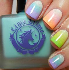 Skittle pastel gradient using Lime Crime polishes by Let them have Polish!