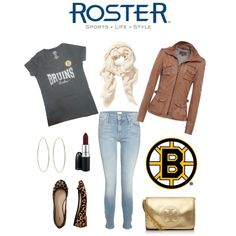 """47 Brand Bruins Outfit"" by rosterstores on Polyvore featuring a Bruins v-neck by @'47 Brand Brand #Bruins! Item Number: 253005-001"