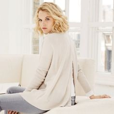 Oversized Back Split Jumper - Natural from The White Company