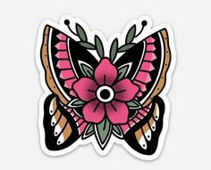 Excited to share this item from my shop: Butterfly stickers, butterfly laptop stickers, butter Traditional Butterfly Tattoo, Traditional Tattoo Old School, Neo Traditional Tattoo, Baby Tattoos, Skull Tattoos, Sleeve Tattoos, Tribal Butterfly Tattoo, Butterfly Art, Tatuaje Cover Up