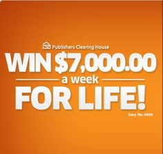 Win $7000 a Week for Life! New PCH Sweepstakes October 21st 2016... Living your dream life, buying a new car, buying a new house and no more financial worries! Who will be the next PCH winner?
