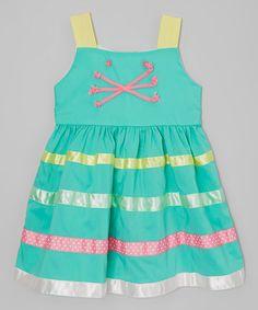 Look at this #zulilyfind! Green & Yellow Cat Stripe Dress - Infant, Toddler & Girls #zulilyfinds