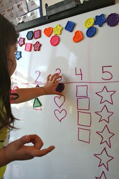 Sort and identify, or graph and count shapes; magnets on the back of lacing shapes