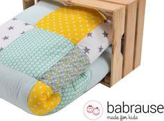 Krabbeldecken - Krabbeldecke Babydecke Laufstall mint gelb Herzen - ein Designerstück von babrause bei DaWanda
