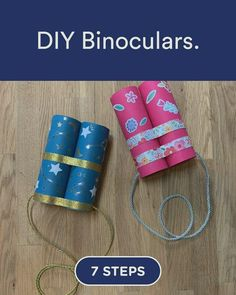 Discover how to DIY Binoculars. in 7 steps Hand Crafts For Kids, Diy Projects For Kids, Diy For Kids, Vbs Crafts, Camping Crafts, Preschool Activities, Toddler Art, Toddler Learning, Toddler Crafts