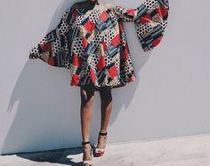 Ankara robe africaine vêtements robe africaine African Print robe mode africaine femmes vêtements tissu africain robe courte d'été African Fashion Ankara, African Dress, African Fabric, African Prints, Ankara Dress, Casual Tops For Women, Lady, Kimono Top, Stylish