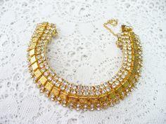 Authentic Vintage Art Deco Gold Gilt RHINESTONE Bracelet - GATSBY Bridal - Flapper style - vintage WEDDING - Heirloom Keepsake piece - Bride