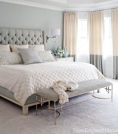 gray, white, and tan bedroom. Great two tone curtains and upholstered headboard! Love the softness of the neutral colors gray, white, and tan bedroom. Great two tone curtains and upholstered… Tan Bedroom, Feminine Bedroom, Master Bedroom Design, Dream Bedroom, Home Bedroom, Bedroom Designs, Pretty Bedroom, Serene Bedroom, Master Bedrooms