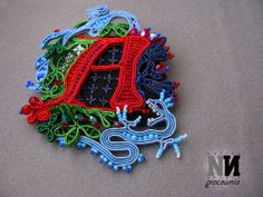 The Scarlet letter, gothic brooch - felt, soutache and beads.