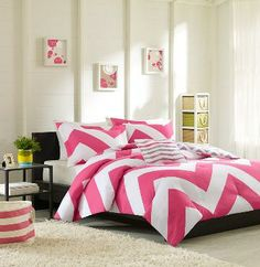 Pink and White Chevron Bedding.  This bedding also completely reverses to a gray and white chevron print.