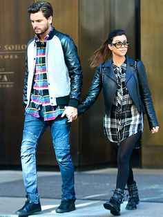 Scott Disick and Kourtney Kardashian, in modernized aviators, must both dig PLAID! The duo stepped out in matching plaid button-downs!