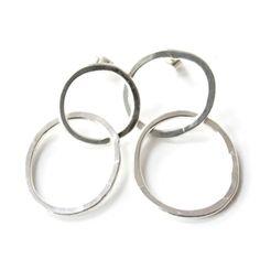 Silver double hoop e