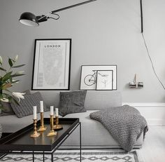 Gorgeous home with grey walls - via cocolapinedesign.com