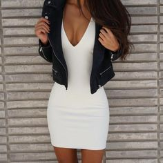 / white bodycon dress + jacket cute outfits for girls 2017 Night Outfits, Fall Outfits, Trendy Outfits, Fashion Outfits, Womens Fashion, Clubbing Outfits, Dress Fashion, Summer Outfits, Fashion Clothes