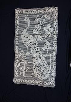 Ravelry: Door Panel of Scrim and Filet Crochet (Peacock Filet) pattern by CorticelliThis pattern can be found on page 46 of Corticelli Lessons in Crochet Book No. reproduced at the Antique Pattern Library. Crochet Applique Patterns Free, Crochet Doily Diagram, Filet Crochet Charts, Crochet Doilies, Crochet Books, Thread Crochet, Diy Crochet, Vintage Crochet, Crochet Stitches