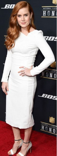 Angelic look: Amy Adams and January Jones both opted for winter white on Saturday at the NFL Honors awards ceremony in San Francisco All White Outfit, White Outfits, Amy Adams Style, Actress Amy Adams, Hot Hair Colors, White Long Sleeve Dress, Bikini Fashion, Beauty Women, Celebrity Style