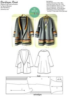 Free pattern for a beautiful coat - meant for a boiled wool or similar no-ravel fabric.  http://veravenus.com/2014/09/the-sewing-book-give-away-winner-is-and-something-for-everyone/
