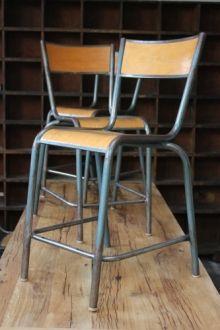 serie de 6 - ancienne Chaise haute d'ecole, laboratoire de biologie
