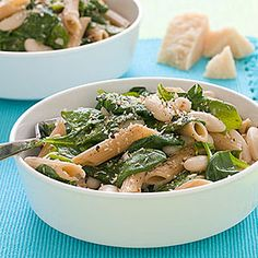 Whole-Wheat Pasta with White Beans and Spinach by All You. MyRecipes recommends that you make this Whole-Wheat Pasta with White Beans and Spinach recipe from All You Vegetarian Recipes Easy, Good Healthy Recipes, Low Calorie Recipes, Healthy Foods To Eat, Healthy Eating, Cheap Recipes, Cheap Meals, Simple Recipes, Vegan Meals