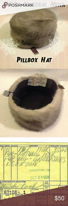 """50s Vintage Mink Pillbox Hat This gorgeous """"natural mink"""" fur hat is in excellent condition!  Tag says that it is """"Designed By Lora"""" and from the 1950's. There are two plastic combs attached to inside of hat to help secure it to your hair. Even comes with original sales receipt from the 50s when it was bought for  $36! Comes from pet and smoke free home. Accessories Hats"""