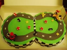 Mario Kart cake with Mario and Bowser
