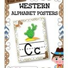 "If you are doing a western theme, this resource will be sure to brighten your classroom! It contains: * 26 alphabet posters (8.5"" x 11"" in portrait..."